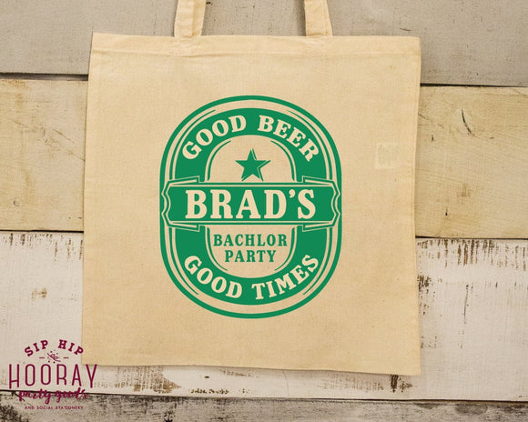 Bachelor Party Beer Emblem Tote Bags #1532