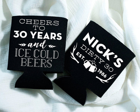 Cheers Beers Antlers Birthday Can Coolers Design #1568