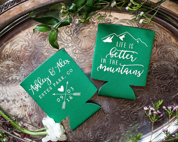 Mountain Life Rustic Wedding Can Coolers #1651