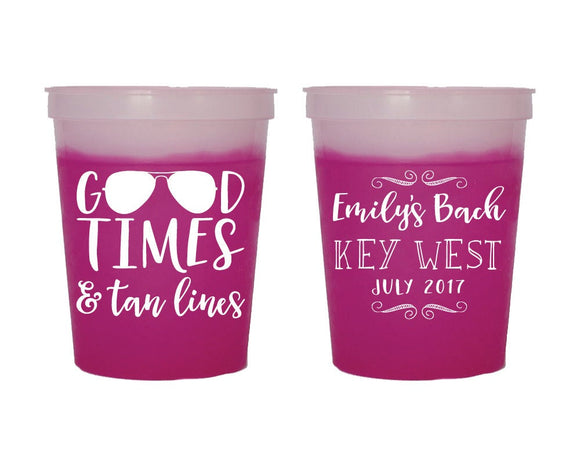 Good Times and Tan Lines Bachelorette Mood Cup Design #1664