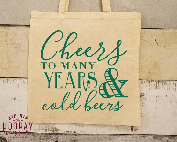Cheers to Many Years Tote Bag Design #1681
