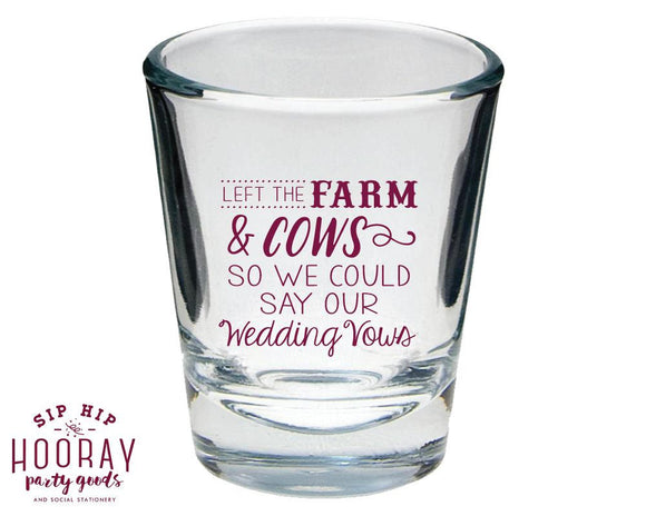 Country Wedding Shot Glass Design #1682