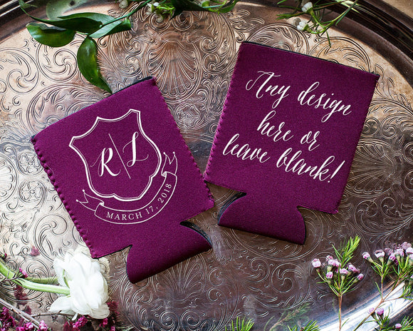 Neoprene Wedding Crest Can Cooler Design #1711