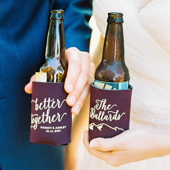 Better Together Mountain Wedding Can Coolers #1527