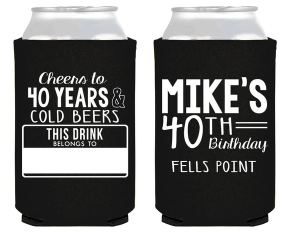 Name Tag Birthday Can Coolers #1866