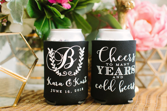 Cheers To Many Years Monogram Can Cooler Design #1660