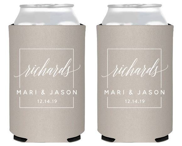 Modern Wedding Monogram Can Coolers 1971