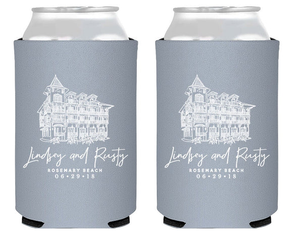 Custom Wedding Venue Drawing Can Coolers