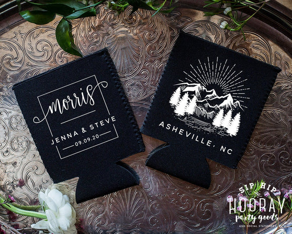 Neoprene Mountain Wilderness Wedding Can Coolers #1999