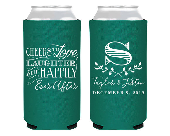 Cheers to Love Laughter and Happily Ever After Foam Slim Can Coolers #1519