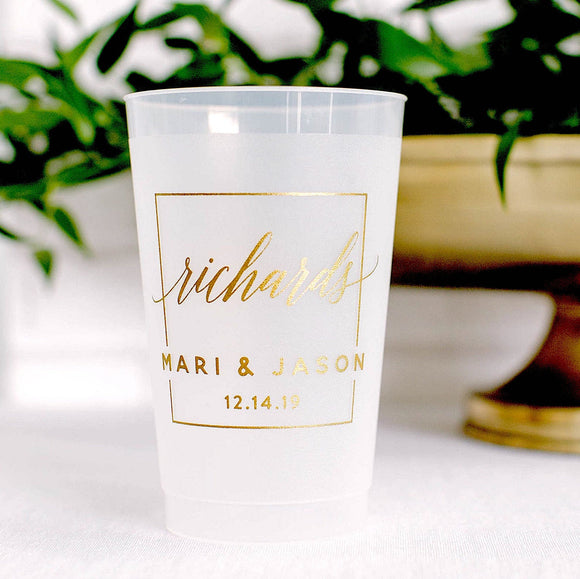 Last Name Wedding 16oz Frosted Cups