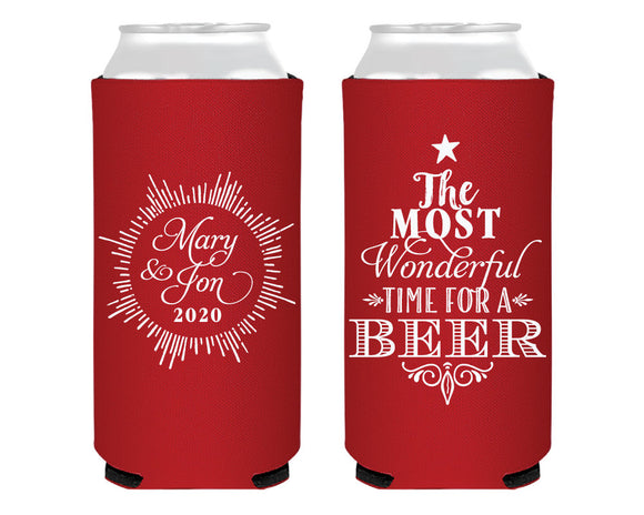 Most Wonderful Time For A Beer Holiday Foam Slim Can Coolers