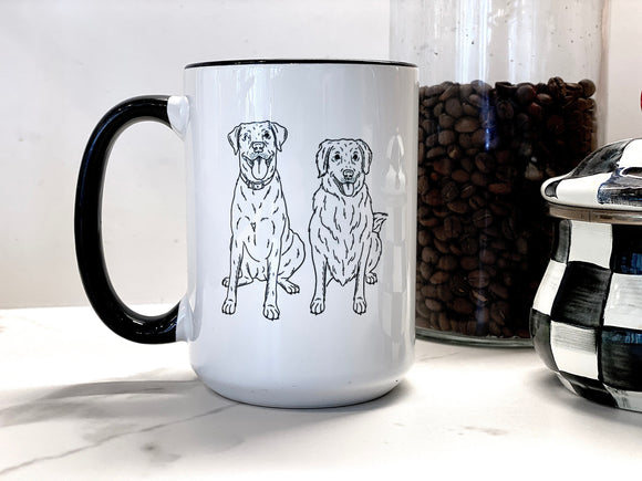 Personalized Pet Portrait 15oz Coffee Mug