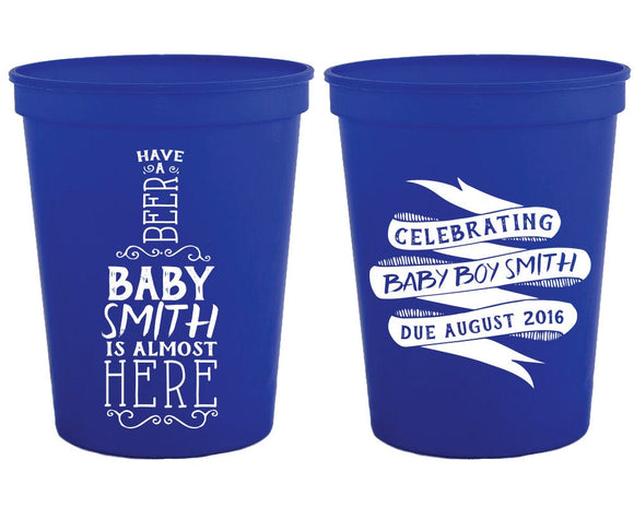 Have a Beer Baby Shower Stadium Cups #1353