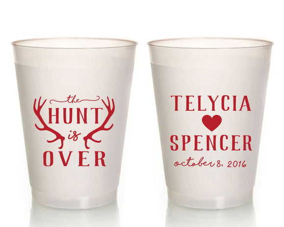 The Hunt is Over Rustic Wedding Frosted Cup Design #1366