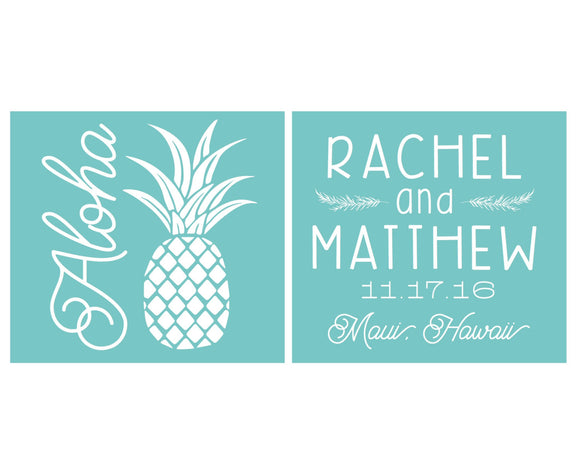 Aloha Pineapple Wedding Can Coolers #1450