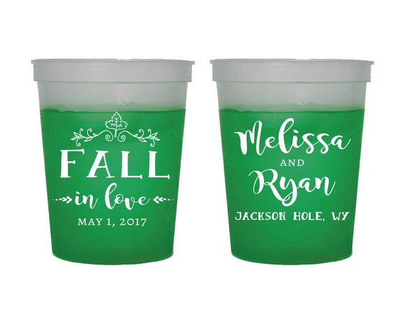 Fall In Love Autumn Wedding Color Changing Cups #1507