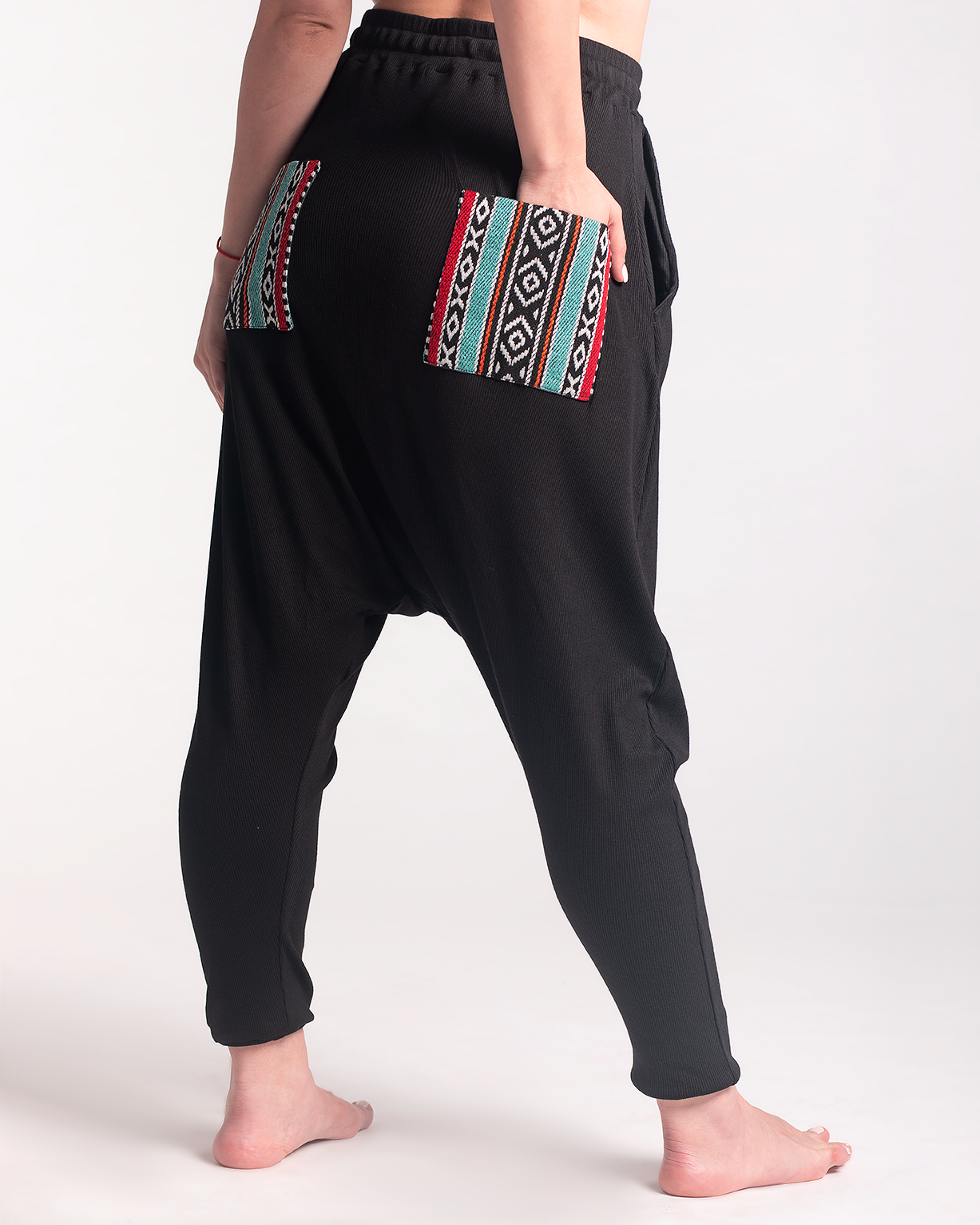 Basic Black Sherwal With Offwhite/ Red Sadu Back Pockets