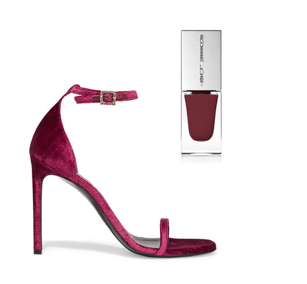 a velvet maroon high heel with a deep maroon/red nail polish