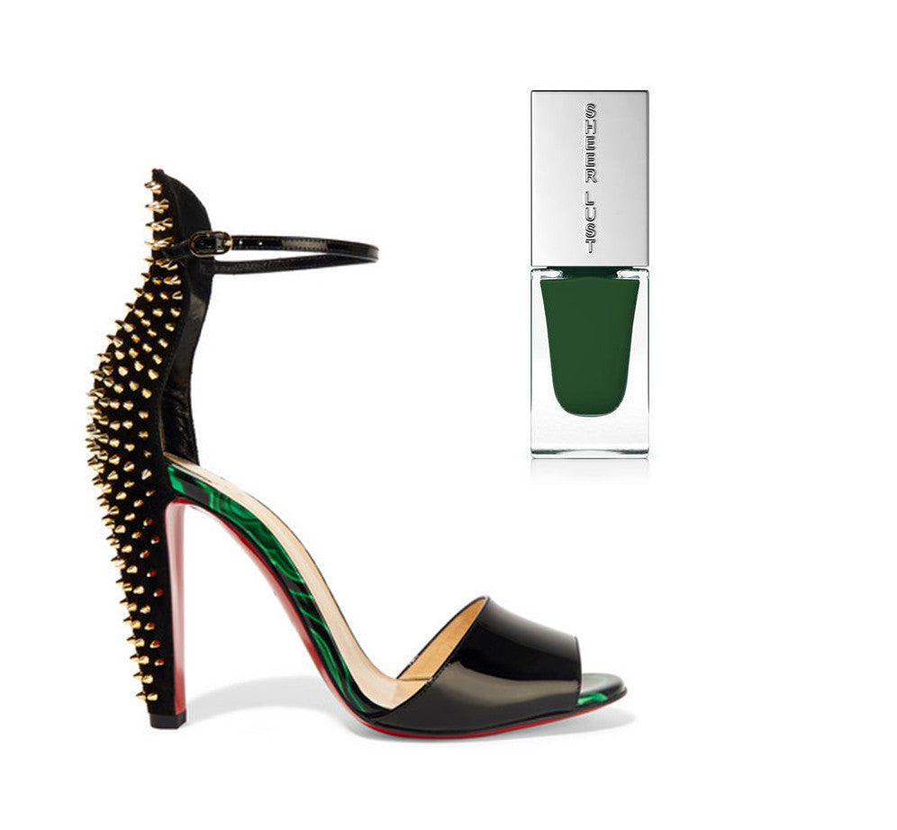 a studded black and green heel with a deep luscious green nail polish by sheer lust