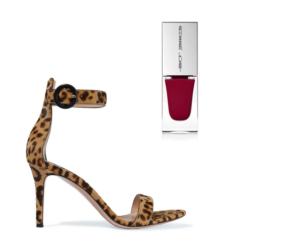 cheetah print high heels with a sassy red nail polish to match.
