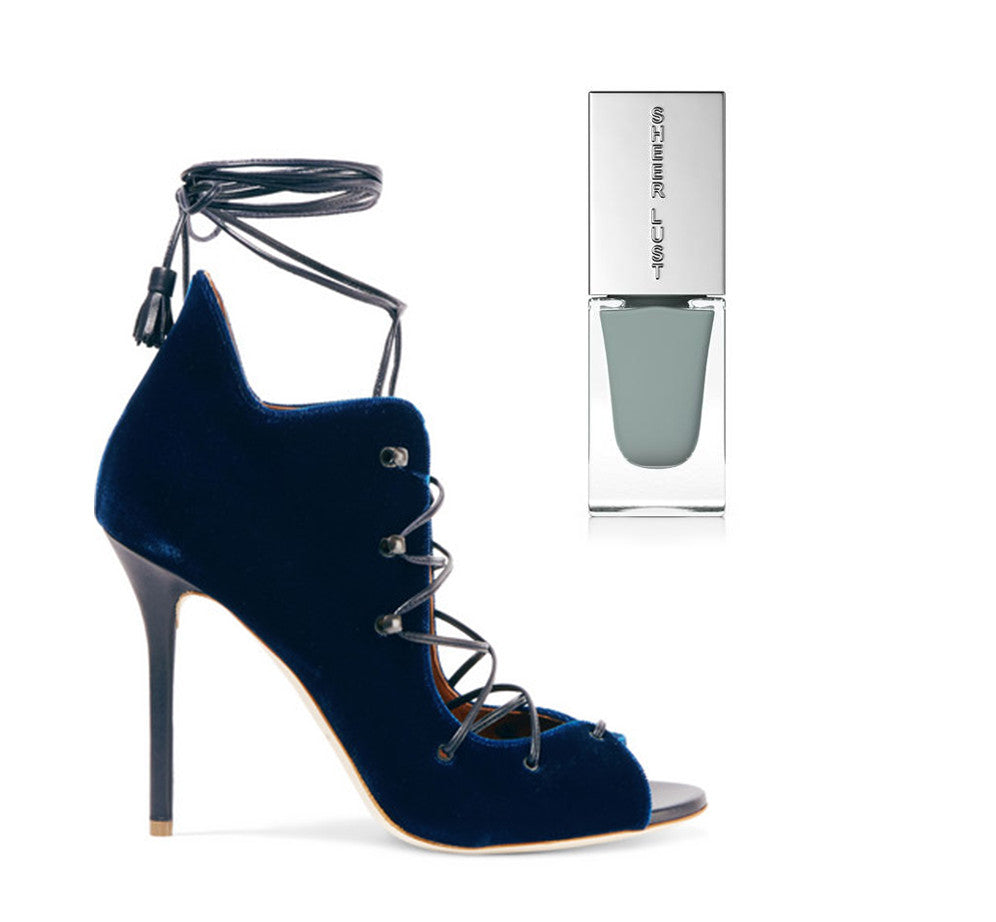deep blue lace up heels with a light grey/blue nail polish to compliment.