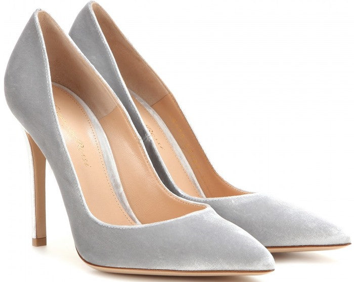 Grey velvet pumps for any holiday outfit.