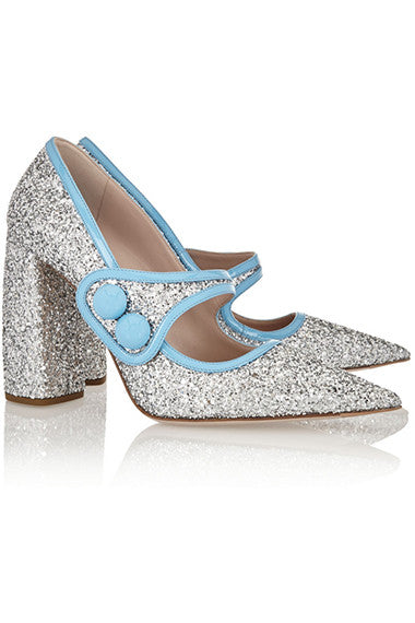 Miu Miu glittered pumps.