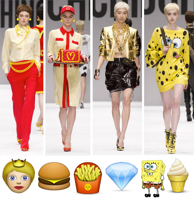 A runway of models wearing clothes based off of emojis.