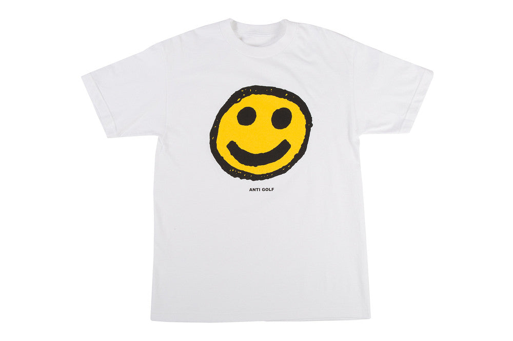 Emoji smiley face tee shirt from wolfwang.com