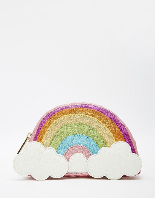 A rainbow clutch that resembles a rainbow emoji.
