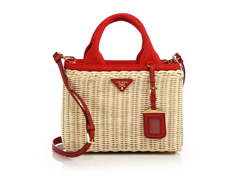 Prada naturalle rosso wicker canvas tote red for $1780