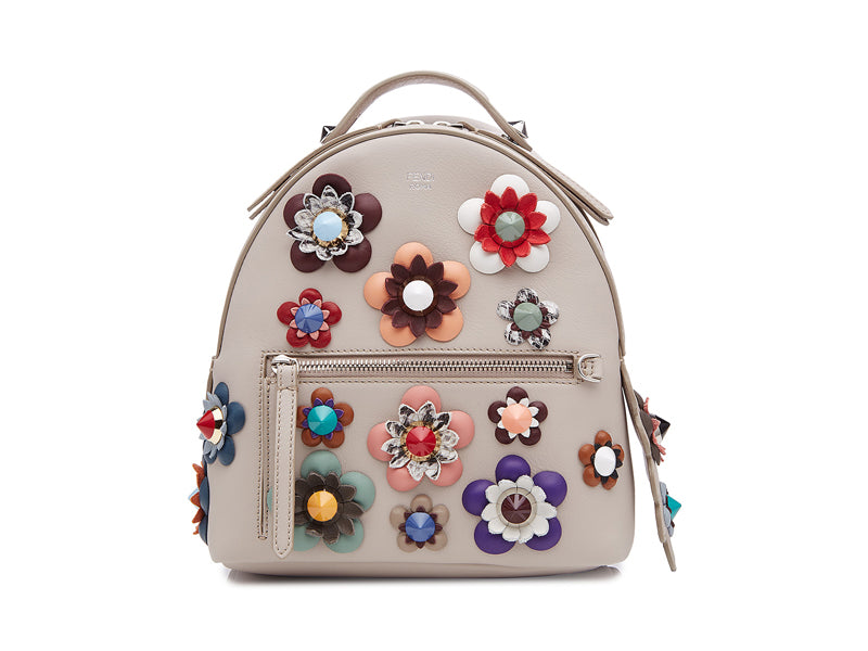 Fendi Applique Leather Backpack