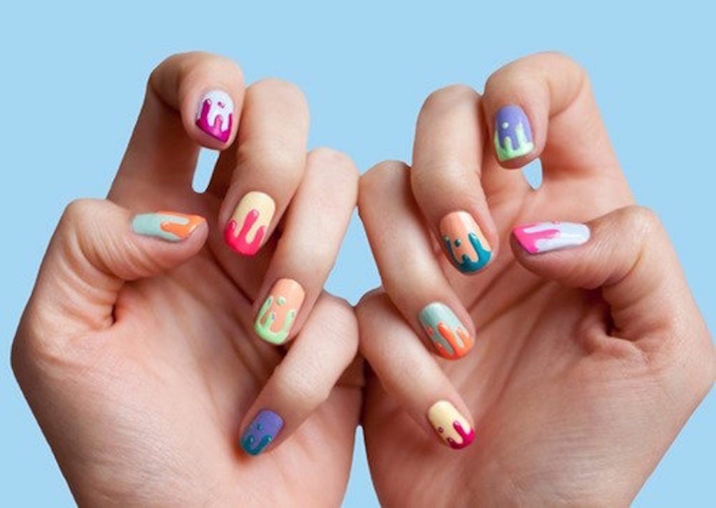 nails design like dripping ice cream.