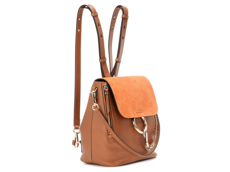 Chloe Faye Mini Leather and Suede Backpack
