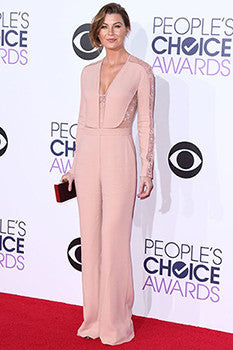 Ellen Pompeo in an Eli Saab laced pink jumpsuit.