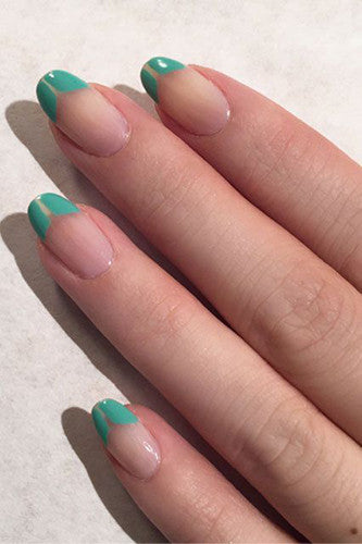 Pastel colored french tip nails.