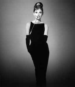 Audrey Hepburn in her little black dress in Breakfast at Tiffany's
