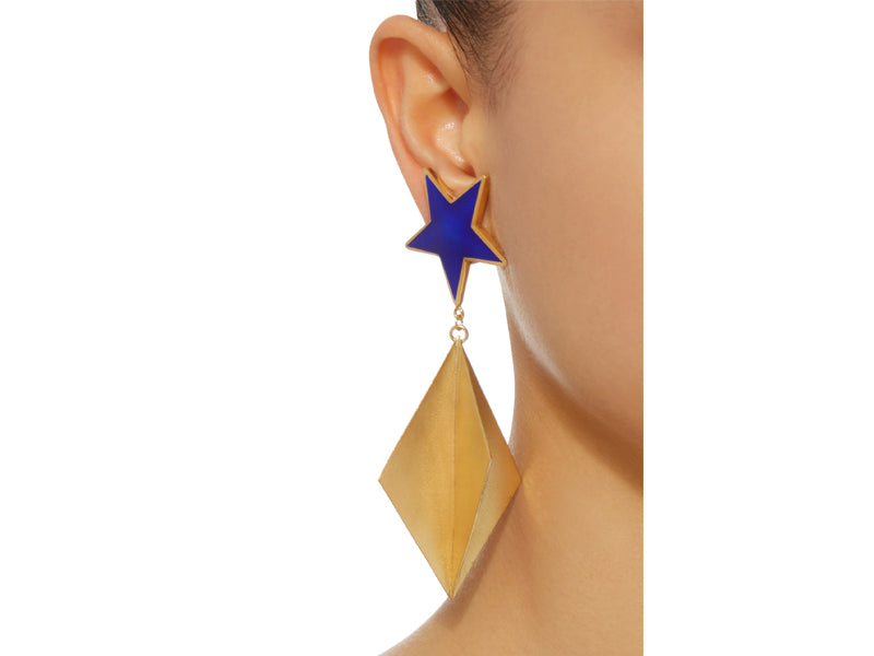 Silhouette Blue Star Enamel earrings