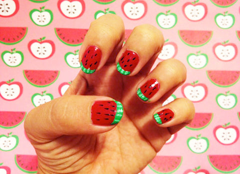 Manicure with watermelon nails
