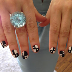 Zooey Deschanel domino manicure