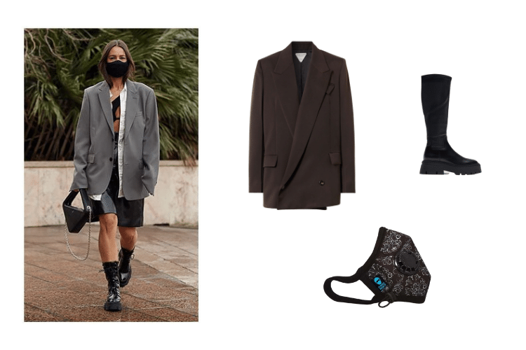 Cambridge Mask Blog - Boyfriend Blazer with High Boots and Duke PRO mask
