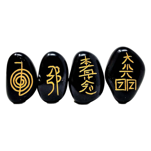 Engraved Usui Reiki Stones - Set of 4. Includes a Carry Pouch