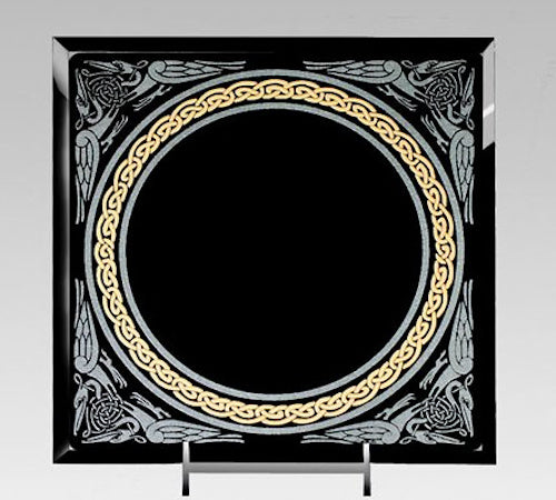"8 x 8"" Square Celtic Knot Scrying Mirror. Includes Stand and Downloadable eBook."