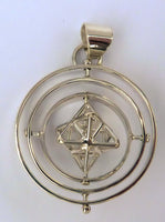 Tantric Star with 3 Spinning Rings - Silver Pendant