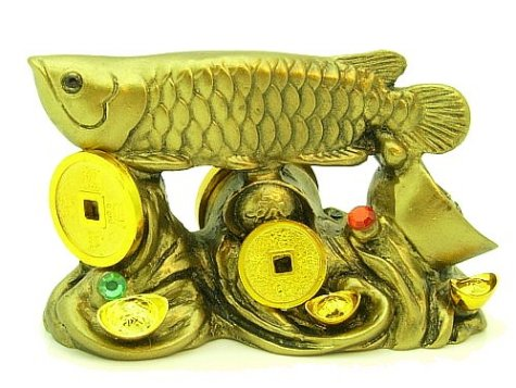 Arowana on Bed of Coins and Gold Ingots