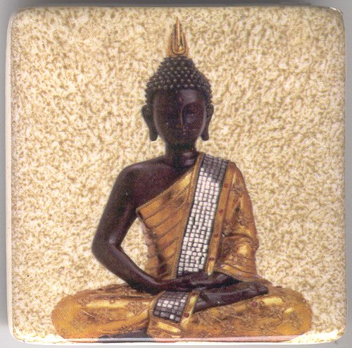 Meditating Buddha Ceramic Fridge Magnet