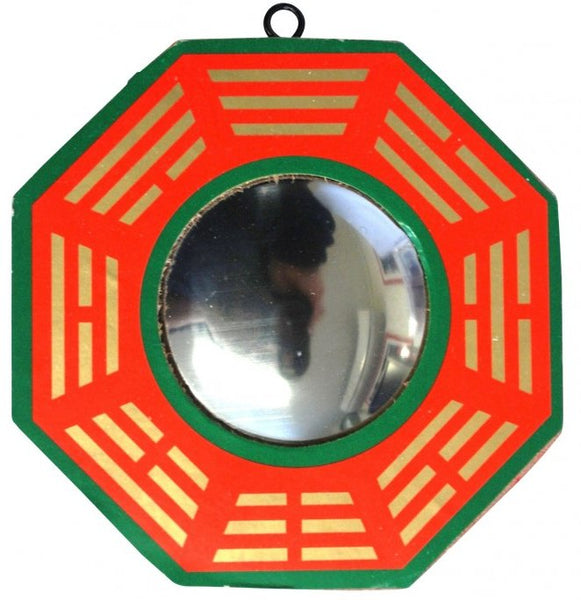 Convex Bagua Mirror - Red Green and Gold