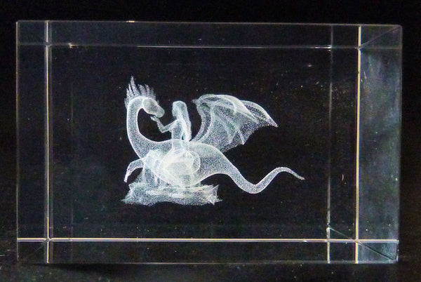 Fairy with Mythical Dragon Laser Picture in Rectangle Crystal Prism