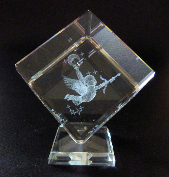 Cherub Laser Picture in Square Crystal Prism on a Stand